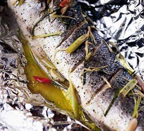 Whole baked Citrus Wild Sea Bass